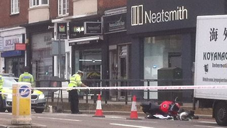 Police said the motorcyclist's injuries are not being treated as life threatening