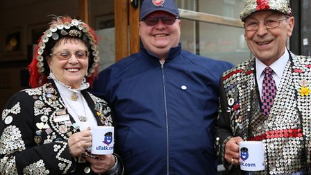 Patrick with the Pearly Queen of Old Kent Road and the Pearly King of Forest Gate at the launch of t