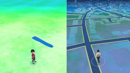 The difference between Pokémon Go in Suffolk (left) and Hampstead (right)