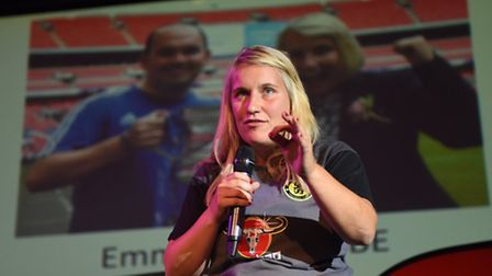 Chelsea Ladies manager Emma Hayes addresses the children and guests at the Camden Centre