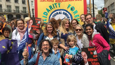 Teachers from Rhyl Primary School and other Camden schools at the march to Parliament on Tuesday. Pi