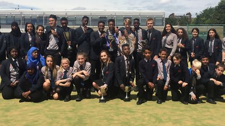 A group of the boys and girls who competed for Haverstock in the Camden Schools Sport Shield gather