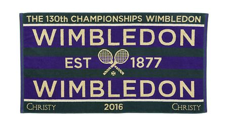 Wimbledon Championship towel, mens, from 29, available from Christy. PA Photo/Handout