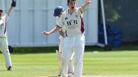 Ethan Bamber appeals for an lbw decision against Shepherd's Bush batsman Sam Howell. Pic: Paolo Mino