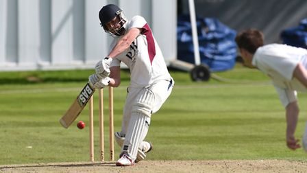North Middlesex captain Tom Nicoll hits a six to win the match. Pic: Paolo Minoli