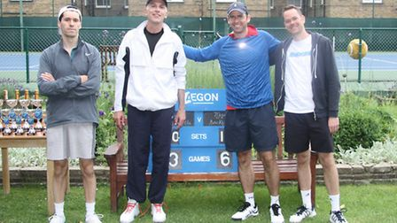 Left ro right: The men's doubles runners-up, Ed Haygarth and Paul Kassar, with the winning duo Dean