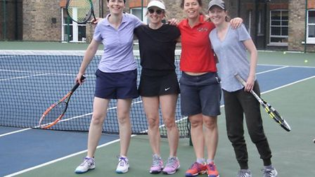Left to right: Women's doubles winners Julie Zysman and Emily MacKay with the runners-up Michelle Br