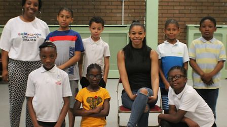 Complexion Drama children with CBBC's The Dumping Ground star Leanne Dunstan (Picture: Complexions)