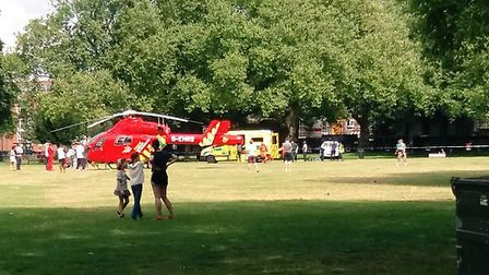 The air ambulance landed on London Fields where a police cordon was set up. (Picture: @janann24).