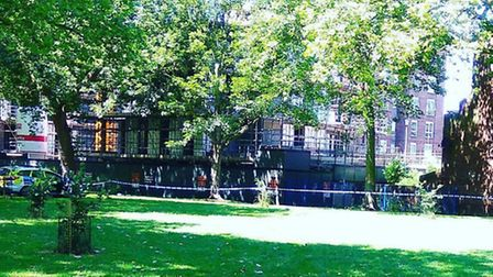 Police taped off a section of London Fields near Landsdowne Drive on Tuesday. (Picture: @pure_richar