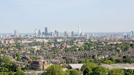 The view over London from the upper storey's of Vantage Point