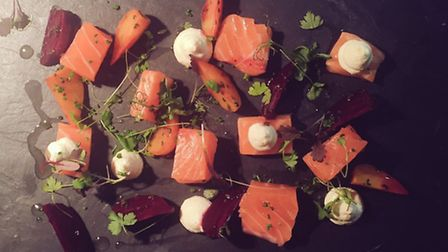 Mussel Men's cured salmon and beet salad