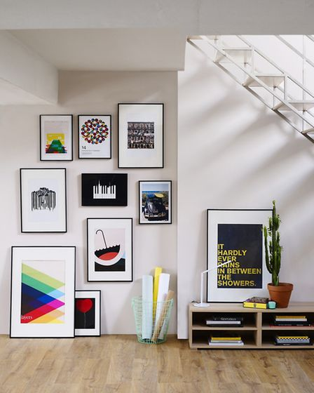 Stick prints to the walls with command tape, or prop frames against the wall. Prints from �5, unfram