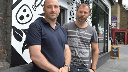 Yuval Hena and Richard Urban outside Studio Spaces E2 this week (Picture: Polly Hancock)
