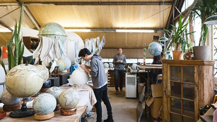 The workshops at Bellerby and Co Globemakers. Photo: Ana Santl