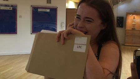 A-level results at the Bridge Academy: Phoebe Thomas finds out her results