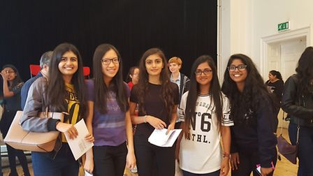 A group of girls from Henrietta Barnett school on results day
