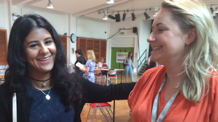 Khadija Patel celebrates her GCSE results with her English teacher at Clapton Girls Academy
