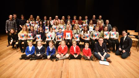 Pupils on stage at the Big Sing at Snape Maltings. Picture: GREGG BROWN