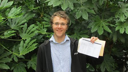 Menachem Mendel Cyprys with his results at Hackney Community College