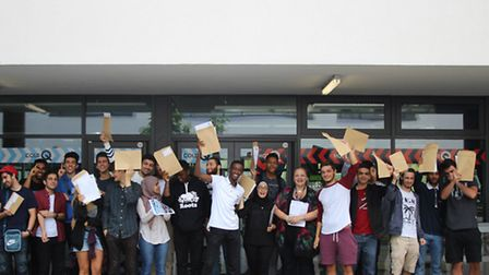 Staff and students at Quintin Kynaston school celebrate their results
