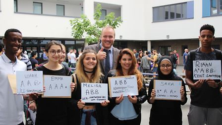 Some Quintin Kynaston students show off their results