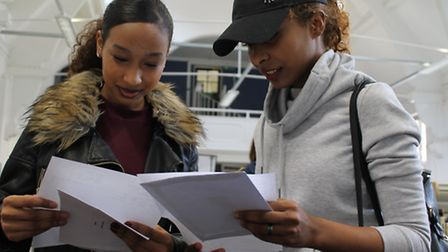 Students Kate Sousa and Goiya Ikar look through their results