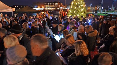 A scene from last year as the crowds gather at the Carols Around the Tree event. Picture: Mick Howes
