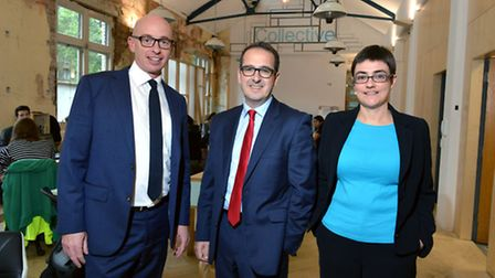 Labour leadership hallenger Owen Smith MP visits the Camden Collective with Camden Cllr leader Sarah