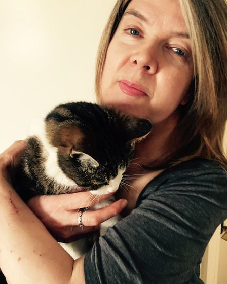 Barbara Read with her cat Shola.