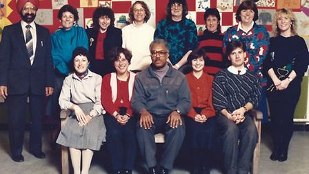 Everard Harvey (centre) with colleagues at Baden Powell School during the 1980s (Picture: Sharon Har