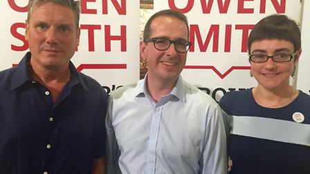 Owen Smith MP supported by Camden leader Sarah Hayward and Keir Starmer MP at a rally on Saturday -
