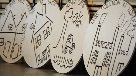 The panels that will adorn the final piece, based on the children's designs