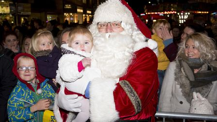 Phoebe Moyse with Santa at the Lowestoft Christmas lights switch on event for 2017.Picture: Nick But