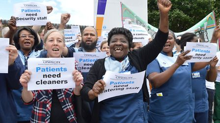 Workers at Homerton University Hospital protest proposed cuts. (Picture: Polly Hancock).