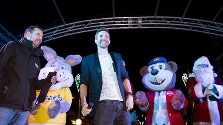 Mark Read from A1 helps switch on the Lowestoft Christmas lights.Picture: Nick Butcher