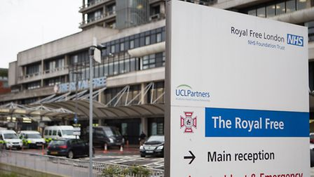 The entrance to the Royal Free Hospital. Photo : Daniel Leal-Olivas/PA Wire