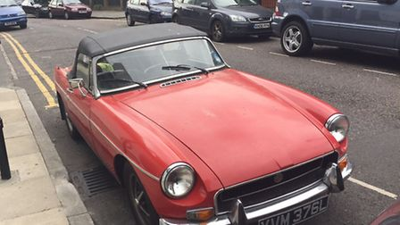 The MGB Roadster which has been stolen