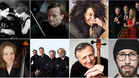 Clockwise from top left; Stephen Hough, Kizzy Crawford, The Arditti Quartet and Raphael Wallfisch