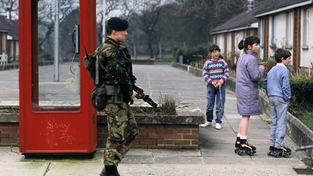 A British soldier patrols the border between Northern Ireland and the Republic in 1988. Photo: Getty