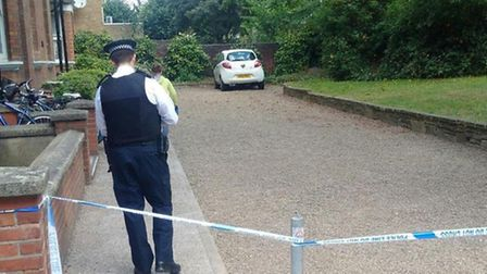 A cordon was put in place outside Stamford Hill Mansions. (Picture: Shomrim).