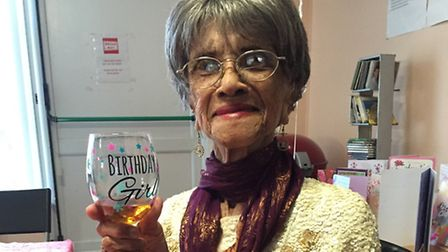 Reenie celebrates her birthday with a glass of her favourite - ginger wine (Picture: Unzela Anna Kha