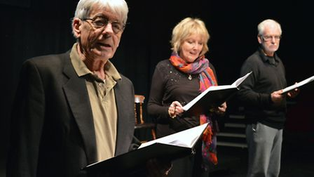 John Nolan, Kim Hartman and Paul Greenwood, in rehearsal at Upstairs at the Gatehouse for the produc