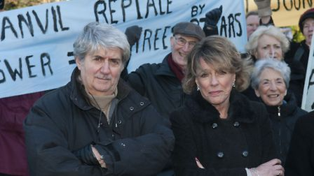 Tom Conti & Esther Rantzen at Kings College planning demo