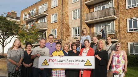 Stop Lawn Road Masts protest,Troyes House residents & neighbours protest against proposed phone mast