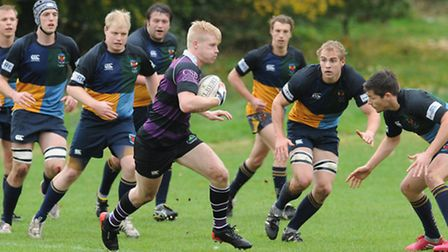 Will Ville (centre) was among the Belsize Park try-scorers on Saturday. Pic: Paolo Minoli