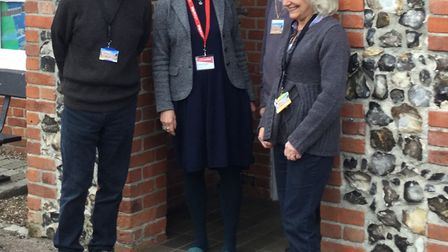 Lowestoft Museum volunteers and SA project officer. Dennis Chivers, Candida Wingate, Rodney Duerden