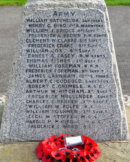 There was a special ceremony in Pakefield on Armistice Day. Picture: Mick Howes