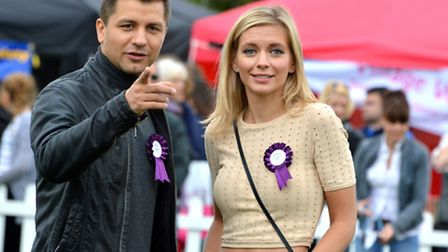 Rachel Riley and Strictly Come Dancing star Pasha Kovalev at Pup Aid 2015