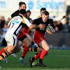 Saracens' Nick Tompkins (right) in action against Wasps last season. Pic: PA